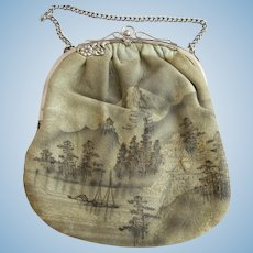Vintage Suede Like Purse with Japanese Landscape Scene