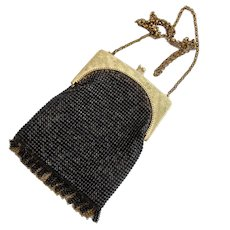 Vintage Whiting and Davis Black Mesh and Fringe Small Purse