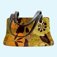 Vintage Fall Colors Chenille Carpet Purse
