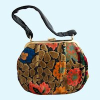 Vintage Chenille Tapestry Purse in Fall Colors
