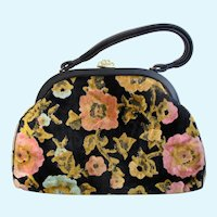 Vintage Large Black and Gold Chenille Tapestry Purse