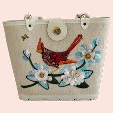 Vintage Kit Created Cardinal Bird Canvas Purse