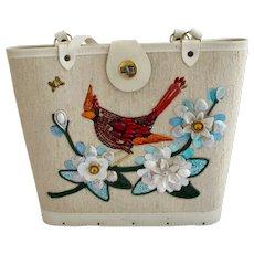 Vintage Make-It-Yourself Kit Cardinal Bird Canvas Purse