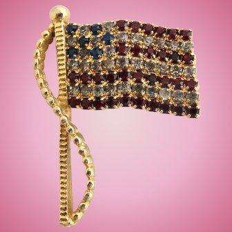 Vintage Rafaelian Rhinestone U.S.A. Flag Pin