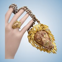 Vintage Razza Leo Lion Pendant + Rare Razza Adjustable Lion Ring Set