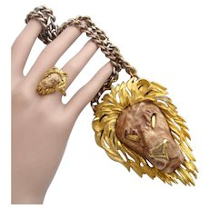 Vintage Razza Leo Lion Pendant + Rare Razza Adjustable Lion Ring Set