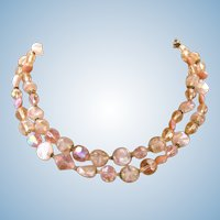 Vintage Regency Pink Crystal Bead Necklace
