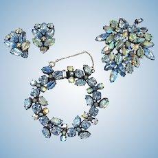 Vintage Regency Blue Art Glass Parure - Bracelet, Brooch and Clip Earrings