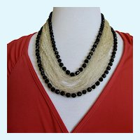 Vintage 'Original By Robert' Multi-Strand Golden Seed Bead and Black Bead Necklace