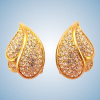 S.A.L. Swarovski Gold Tone Rhinestone Leaf Clip Earrings