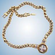 Vintage S.A.L. Swarovski Crystal Gold Tone Choker Necklace