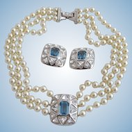 Vintage S.A.L. Swarovski Blue Crystal Gold Tone Choker Necklace and Earrings