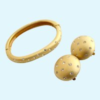 """Vintage Swarovski """"Jewelers Collection"""" Gold Tone Bangle and Clip Earring Set"""