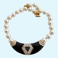 Vintage S.A.L. Swarovski Black Enamel Rhinestone Necklace