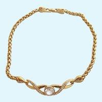 Vintage S.A.L. Swarovski Clear Rhinestone Gold Plated Choker Necklace