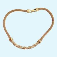 Vintage Swarovski Gold Plated Mesh and Rhinestone Choker Necklace