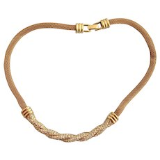 Vintage Swarovski Gold Plated Mesh and Rhinestone Choker Necklace