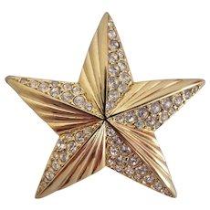 Vintage Signed Swarovski Gold Plated Star Brooch