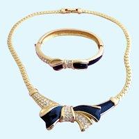 Vintage Swarovski Gold Plated and Black Enamel Bow Necklace and Clamper Bracelet Set