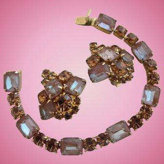 Vintage Saphiret Sappharine Bracelet and Earring Set