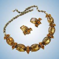 Schiaparelli Golden Topaz Oval Rhinestone Necklace and Earring Set