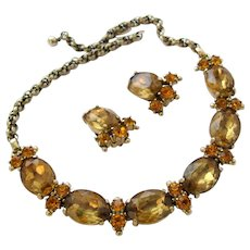 Schiaparelli Golden Topaz Oval Rhinestone Necklace and Earring Set