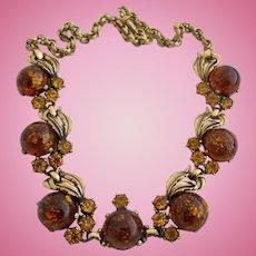 Vintage Schiaparelli Faux Amber Necklace
