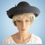 Vintage Schiaparelli Black Wide Brim Straw Hat - In Original Store Hat Box dd6e55f9af4f