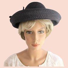 fe02fec9d509e Vintage Schiaparelli Black Wide Brim Straw Hat - In Original Store Hat Box