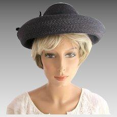 Vintage Schiaparelli Black Wide Brim Straw Hat - In Original Store Hat Box