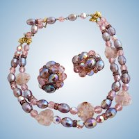 Vintage Schiaparelli Pink Crystal and Art Glass Necklace and Clip Earring Set