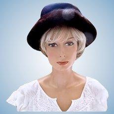 Vintage Schiaparelli Brown Fur Wide Brim Hat