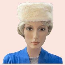 Vintage Schiaparelli White Fur Pillbox Hat