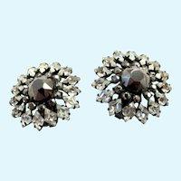 Vintage Schreiner Grey Rhinestone Clip Earrings