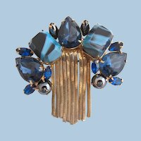 Vintage Schrager Blue Art Glass Brooch with Waterfall Dangles