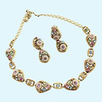 Vintage Selro Pastel Rhinestone Necklace and Clip Earring Set