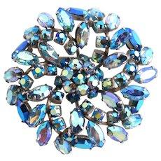 Vintage Sherman Blue Aurora Borealis Rhinestone Flower Brooch