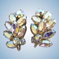 Vintage SHERMAN Aurora Borealis Clip Earrings