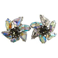 Vintage SHERMAN Aurora Borealis Rhinestone Pinwheel Screw Earrings