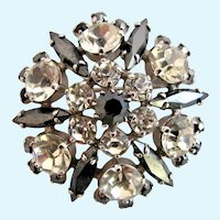 Vintage Sherman gray and Icy Clear Rhinestone Domed Brooch