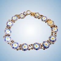 Vintage Sterling Silver Blue Enamel Flower Bracelet