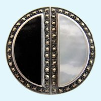 Vintage Sterling and Marcasite Black White Half Circle Pin