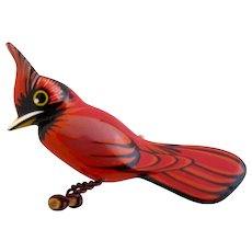 Vintage Painted Wood Hand Carved Cardinal Bird Pin