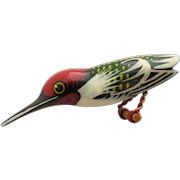 Vintage Carved and Painted Wood Hummingbird Brooch