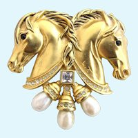 Vintage Elizabeth Taylor for Avon Hearts in Tandem Double Horse Head Brooch