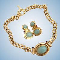 """Vintage Elizabeth Taylor for Avon Faux Jade """"Taylored for Style"""" Necklace and Earring Set"""