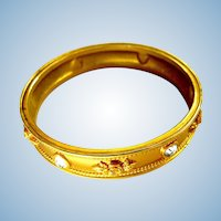 "Vintage Elizabeth Taylor for Avon ""Love Blooms"" Gold Tone Bangle Bracelet"