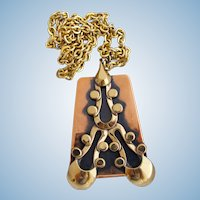 Vintage Tortolani Crislu Copper Modernist Pendant Necklace