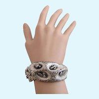 Vintage Tortolani Silver Plated Desert Theme Clamper Bracelet