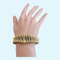 Vintage Tortolani Antiqued Gold Tone Ribbed Clamper Bracelet